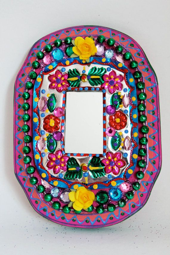 ;D ❤️Tin mirror from Mexico on wood plaque / Mexican by TheVirginRose