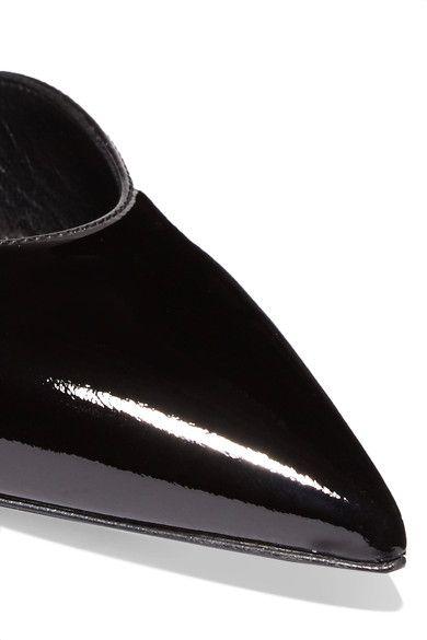 Saint Laurent - Edie Snake Effect-trimmed Patent-leather Pumps - Black - IT