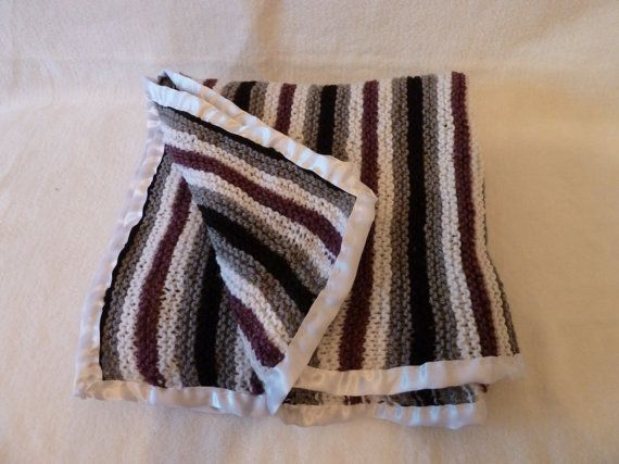 Hand knitted large size baby blanket with satin ribbon trim. New baby gifts unisex baby blanket, grey white black & burgundy with satin trim...