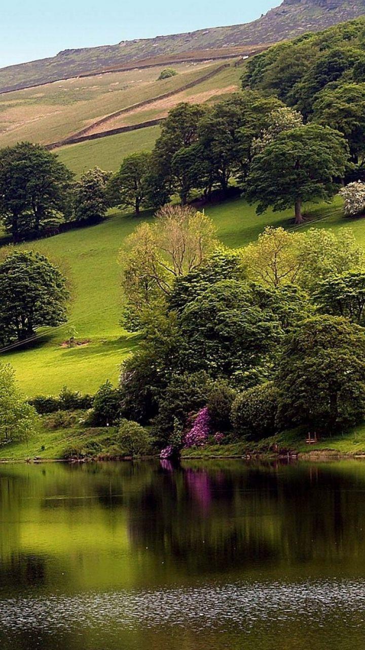 720x1280 magical beach gras hills ocean galaxy s3 wallpaper - Download Wallpaper 720x1280 Slope Trees Greens Grass Houses Lake Samsung Galaxy S3 Hd Background Pinterest Green Grass