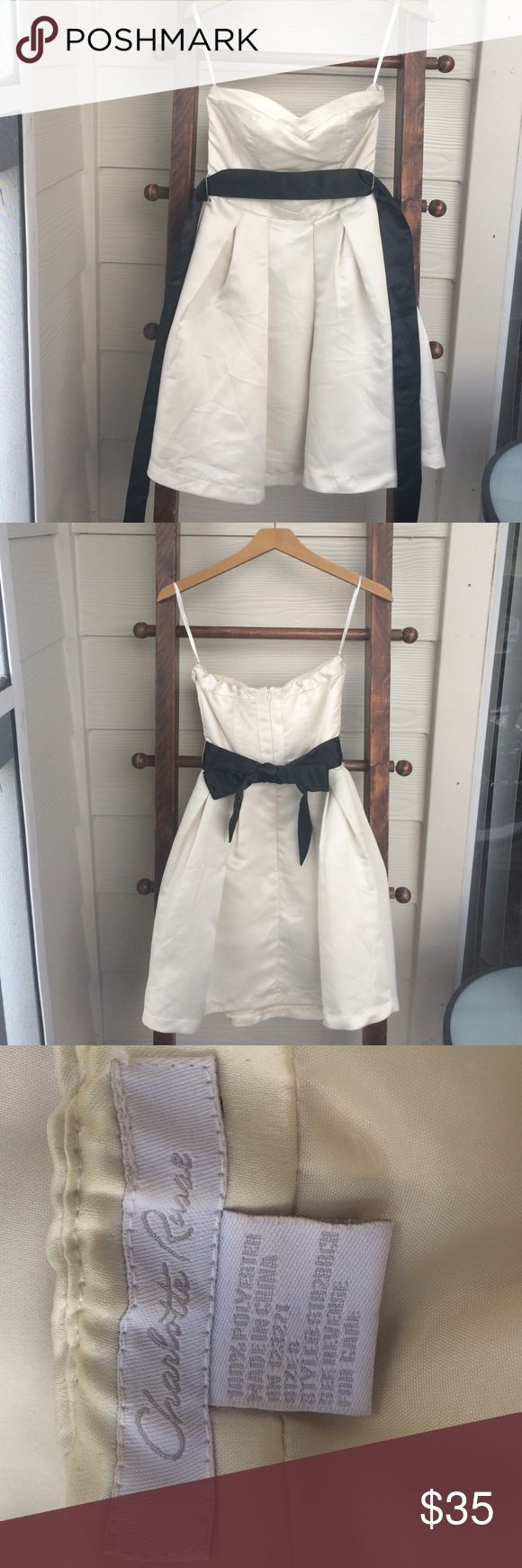 Charlotte Russe Cream Formal Dress Charlotte Russe Small Cream Formal Dress with Black Sash. Great for Prom, Formal, or a Party! Charlotte Russe Dresses Strapless