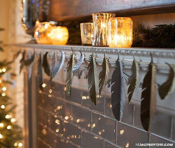 Перья из бумаги для праздничной гирлянды и украшения елочки. ШАБЛОНЫ ПЕРЬЕВ (1)…