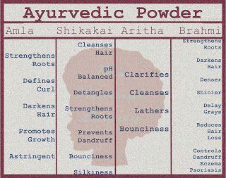 Ayurvedic Powder Benefits chart from Ms Natural Beauty on BlogSpot  Amla Shikakai Aritha Brahmi