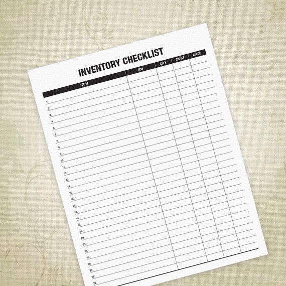 Inventory Checklist PDF, Item Listing, Inventory List, In Stock Tracker