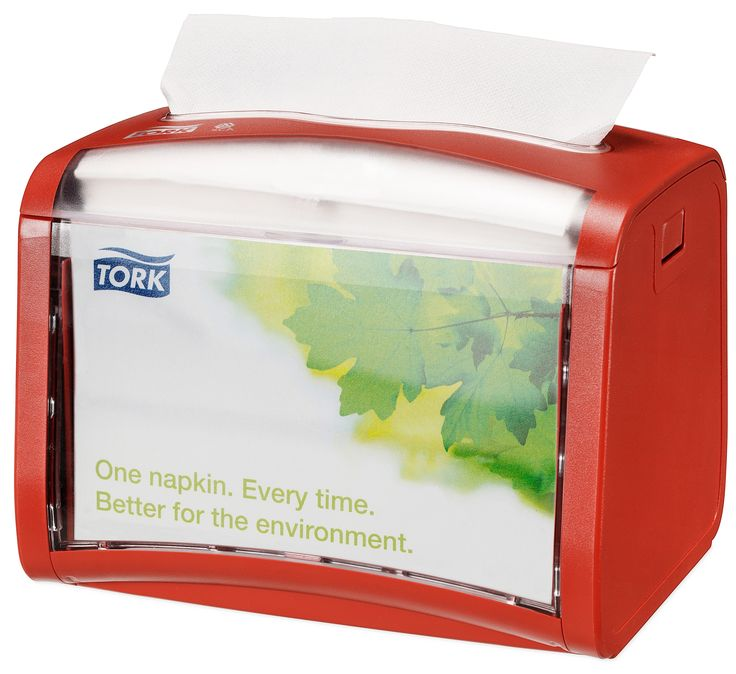 Tork Xpressnap Red Tabletop Napkin Dispenser: We guarantee Tork Xpressnap® napkin dispensing system will reduce napkin usage by at least 25% compared with traditional dispensers, helping you to reduce napkin consumption and waste. (System: N4 - Interfolded napkin system; Material: Plastic; Height: 155 mm, Width: 201 mm, Depth: 150 mm; Color: Red) Get more information about this product at: http://bimobject.com/en/sca-eu/product/272612/sca-tork-eu