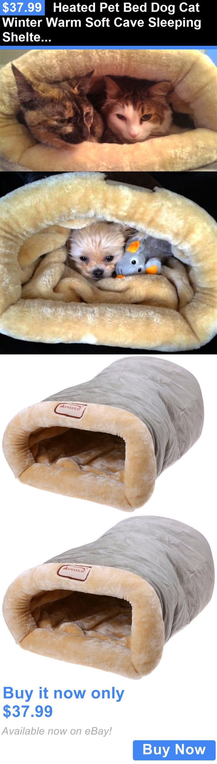 Pet Supplies: Heated Pet Bed Dog Cat Winter Warm Soft Cave Sleeping Shelter Rescue Plush Nest BUY IT NOW ONLY: $37.99
