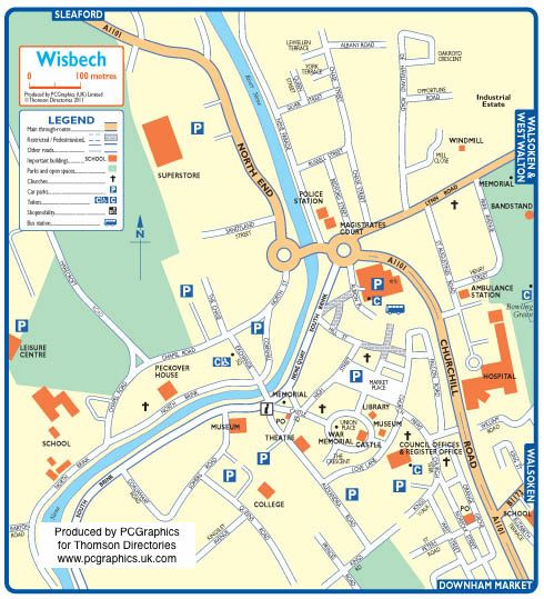 Map of Wisbech created in 2011 for Thomson Directories. One of approximately 350 UK town and city maps produced royalty free. Find out more...  http://www.pcgraphics.uk.com   or read our blog...    http://www.pcgraphics.uk.com/blog/