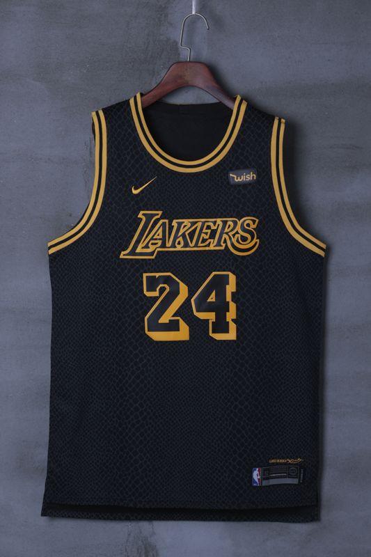 f9b6a5bcb Lakers bryant 24 black basketball jersey