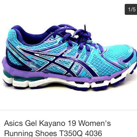 Asics Gel Kayano 19 turquoise and grape SZ 7.5 Virtually new in box. I wore these once around my around my apartment complex when I realized they were too small! Can't tell they were ever worn. Turquoise and purple! Super cute and comfortable Great for running, only shoes I buy. Also hear lot of nurses wear them too. asics Shoes Athletic Shoes