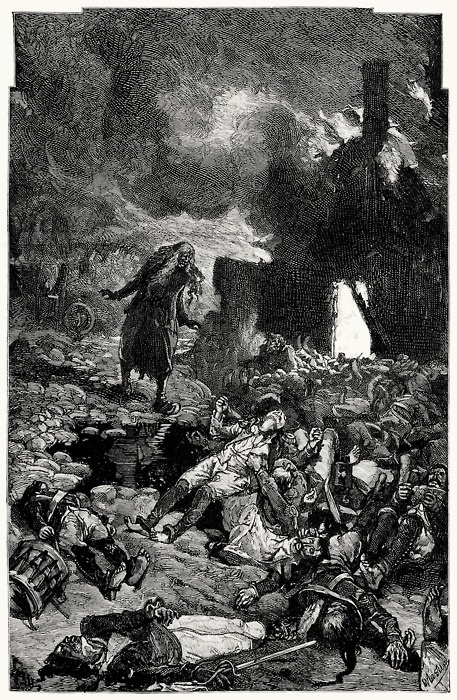 The massacre at Herbe-en-Pail.    Daniel Vierge, from Ninety-three vol. 1, by Victor Hugo, London, New York, 1889.