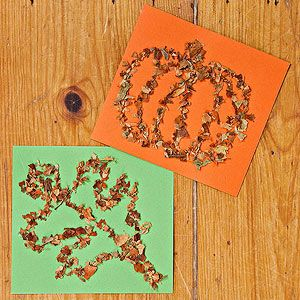 Leaf Glitter Craft: These dimensional drawings are made using leaves from your