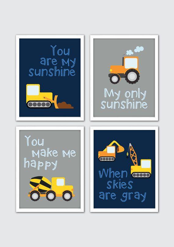 Construction Nursery Art, Baby Boy Wall Art, Transportation Prints, Gray Navy Blue Nursery, Boy Rules Sign, Toddler Big Boy Room, Boy Quotes