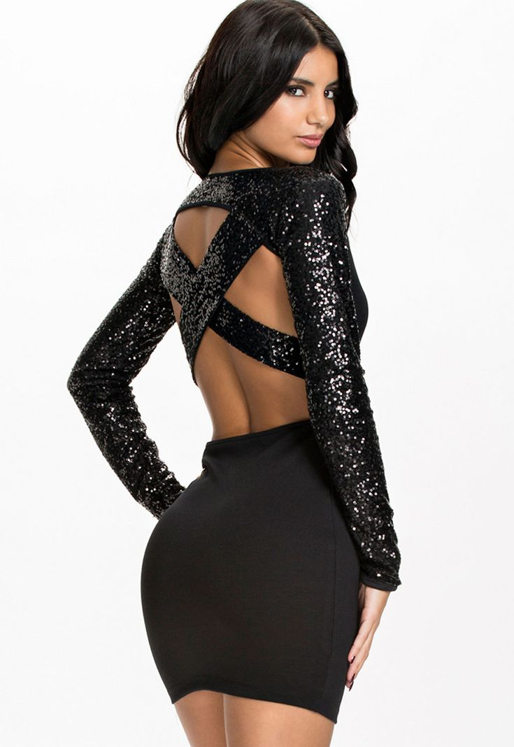 Sequined Sleeves Cross Back Black Club Dress