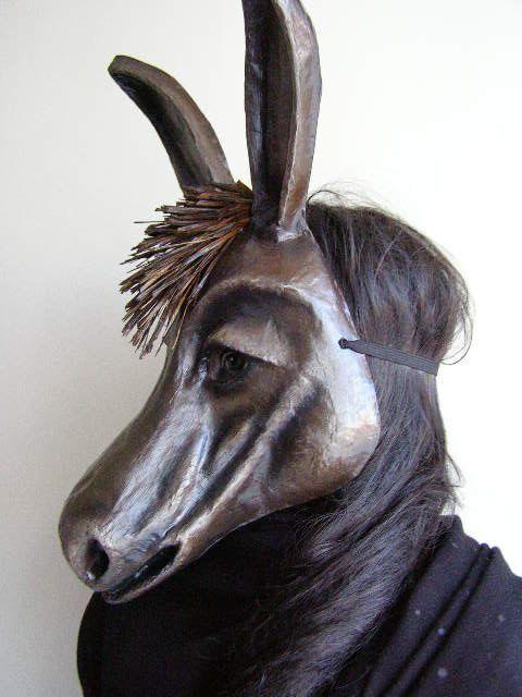 Animal Mask Masquerade Mask Donkey Mask Paper Mache by EpicFantasy