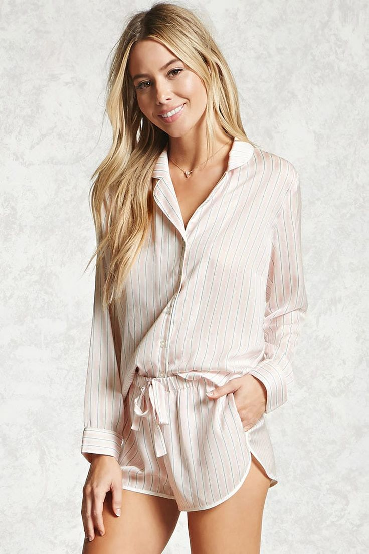 A satin PJ set featuring allover stripes, a button-up shirt with a notched collar and long sleeves, and shorts with a dolphin hem, on-seam pockets, and an elasticized drawstring waist.