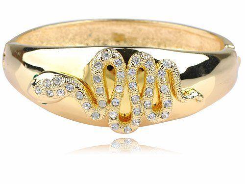 Shiny Gold Tone Metal Alloy Clear Crystal Rhinestone Snake Cuff Bracelet Bangle Alilang. $14.99