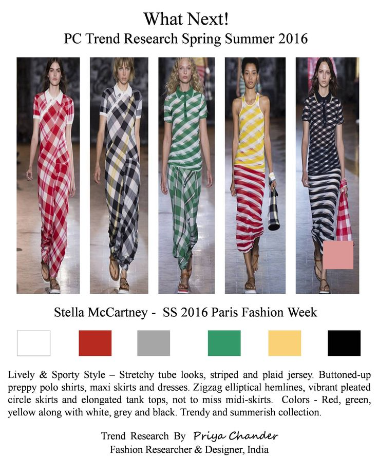 #StellaMcCartney #PFW #SS16 #sporty #womenswear #pctrendresearch #jersey #red #green #yellow #black #fashiontrends2016 #vibrantpleatedskirts #tanktops #urbancool #chic #striped #plaidjersey #poloshirts #maxiskirts #trendsy #summerishcollection