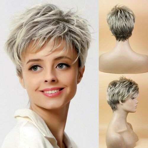 $10 Lady Boy Cut Short Layered Pixie Wigs Straight Full Synthetic BOB Wig for Women | eBay
