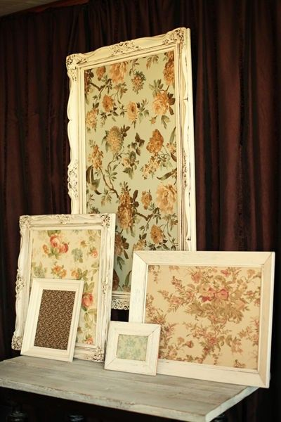 Framing pretty fabric for wall decor; could be inexpensive if you find frames at thrift stores and buy scrap/sale fabric.