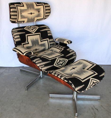 Mid Century Navajo Pendleton Portland Lounge Chair Ottoman Recliner Walnut Eames | eBay