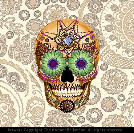 This unique and unusual sugar skull artwork features tan, yellow, and green tones. the artwork is by decorated skull artist Christopher Beikmann