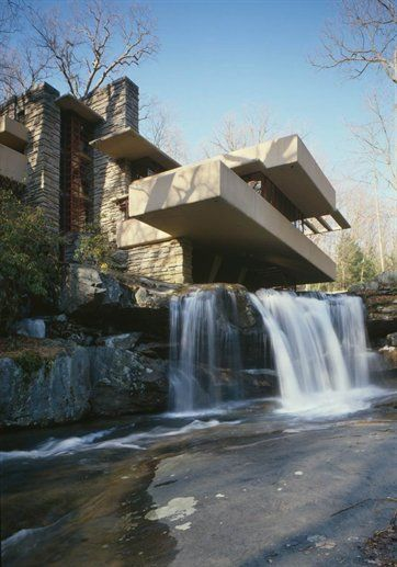 "My favorite architect. Frank Lloyd Wright, ""Fallingwater"", Kaufman Residence. 1936-39, Bear Run Creek in Mill Run, PA."