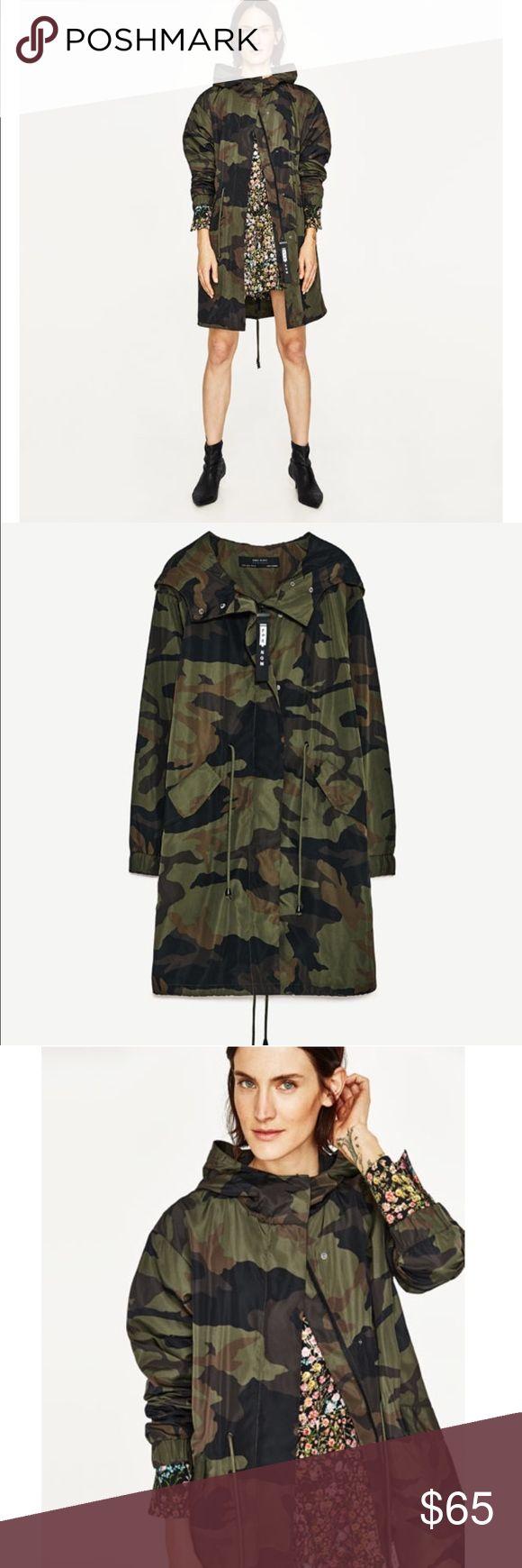 Camouflage print raincoat impermeable parka Polyester 100%, Zara 2017 . NWT Zara Jackets & Coats