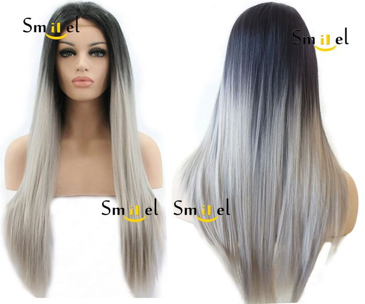 Synthetic Lace Front Wig Heat Resistant Ombre Grey Gray Straight Women Wigs Hair