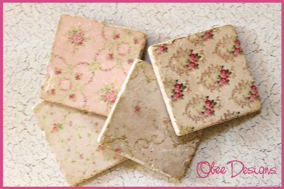Set of 4 Marble Tile French Shabby Chic Pastel Pink Floral Pattern Stone Coasters with Distressed Edges. $22.00, via Etsy.