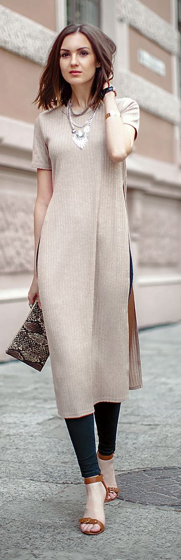 Beige Rigged Long Dress Summer Style: