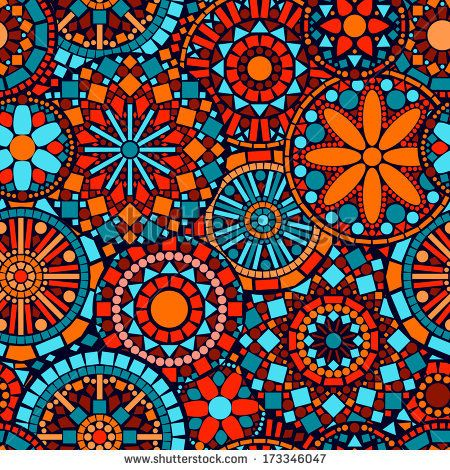 Colorful circle flower mandalas seamless pattern in blue red and orange, vector by Natalyon, via Shutterstock