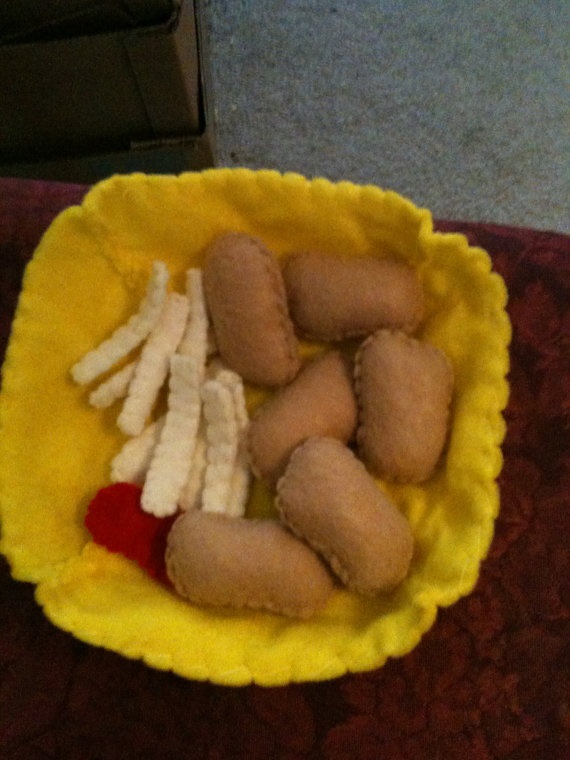 Felt food - chicken nuggets and fries