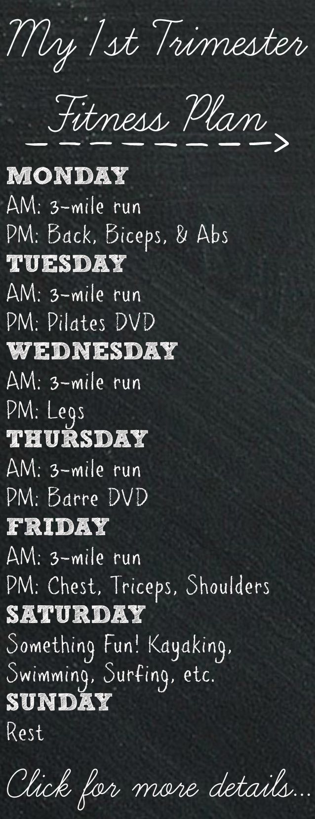 First Trimester Fitness Plan #fitpregnancy....If I can run before the next pregnancy, I will do this!