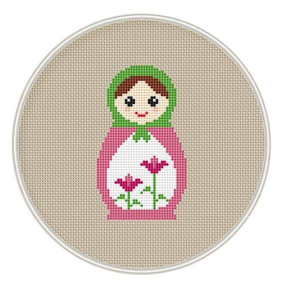Russian Doll cross stitch pattern, Instant Download, Free shipping, Cross-Stitch PDF, Matryoshka, Nesting Doll, MCS092