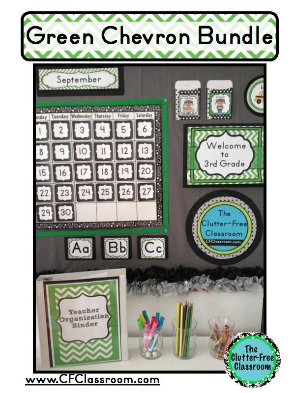 Classroom Decor Bundles ~ Green chevron classroom decor editable clutter free