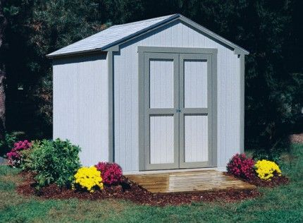 8 x 8 shed shown here with decorative flowers and ramp. The economical storage solution. $1,099