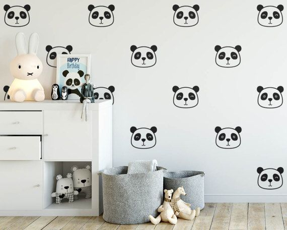 Panda Wall Decals Nursery Decals Cute Panda Face Decals Vinyl