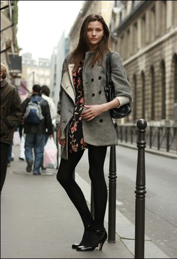 French style - floral & opaque black tights