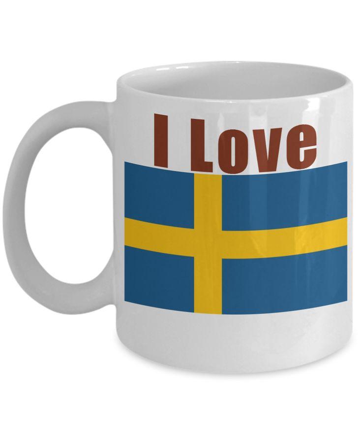 I Love Sweden Coffee Mug With A Flag