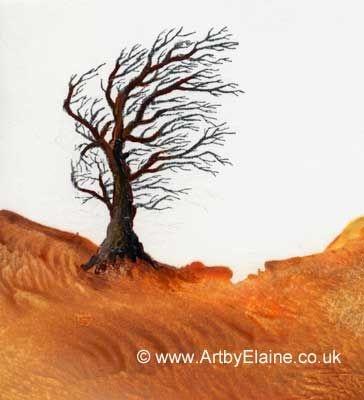 Windswept - encaustic art by Elaine