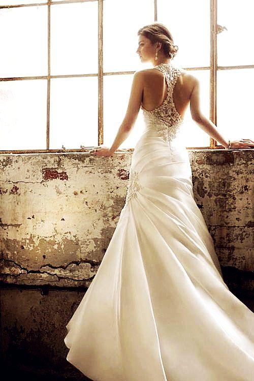 Luxury Satin Wedding Dress love the back