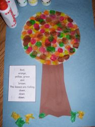 fall coffee filter tree w/ poem  Red, orange, yellow, green & brown.  The leaves are falling, down, down, down.