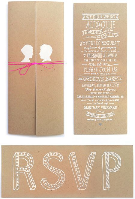 craft paper, white ink & silhouettes invites