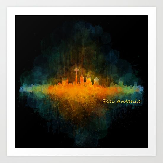 San Antonio City Skyline Hq v4 Art Print by Hqphoto - $16.99