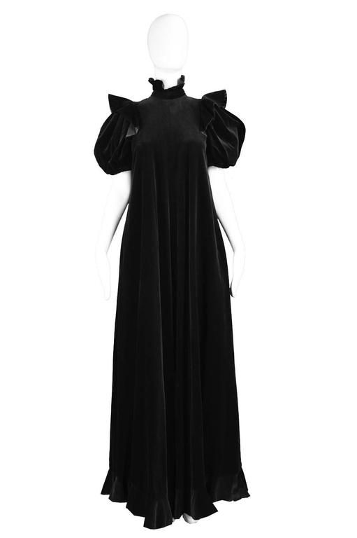 Gina Fratini Black Velvet Gown with Dramatic Puff Sleeve, 1970s