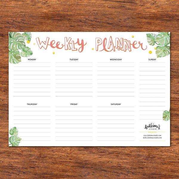 Printable Monstera Weekly Planner