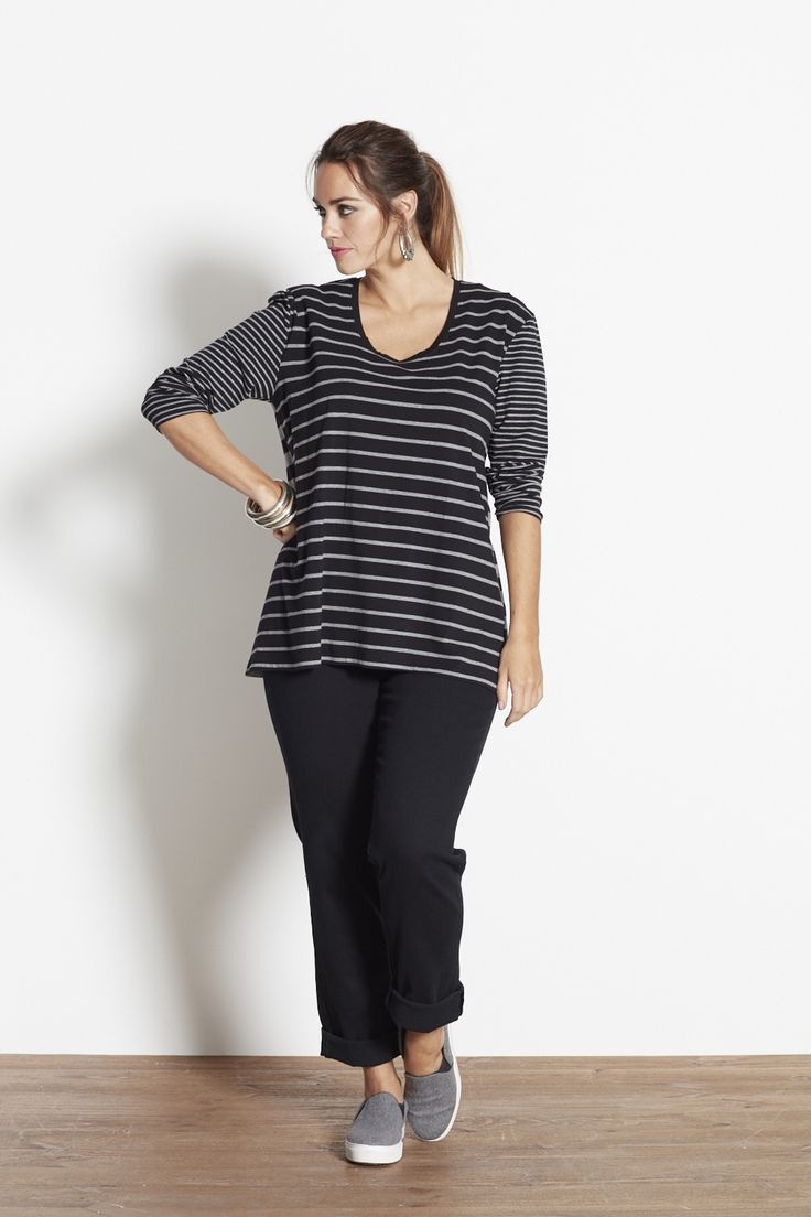 The Blues Striped Top in Black & Grey