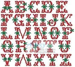 Christmas Alphabet cross stitch pattern.