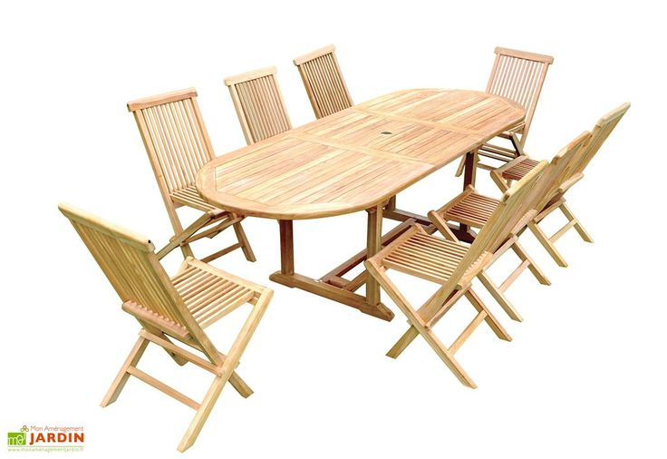 Salon de Jardin Teck - Table Ovale 180/240 cm + 8 Chaises Pliantes