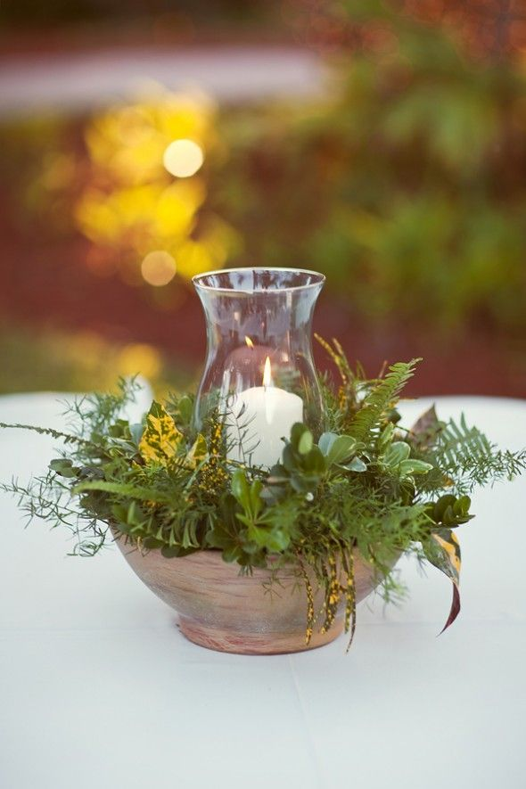 simple greens with a glass lantern